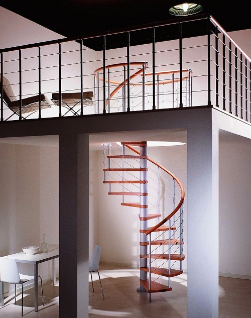 The Genius T spiral staircase is available in a number of different colour options.