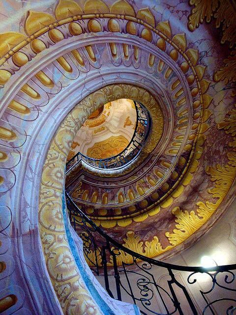 The spiral staircase at the Baroque Melk Abbey, Austria