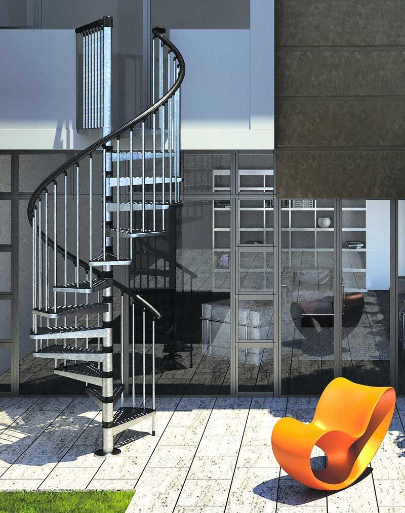 Gamia Zinc Exterior Spiral Staircase