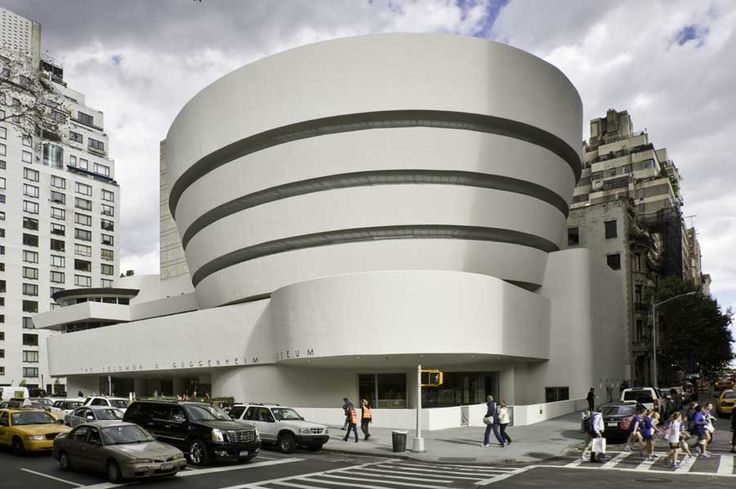The shape of the exterior of the Guggenheim Museum owes much to its internal spiral staircase