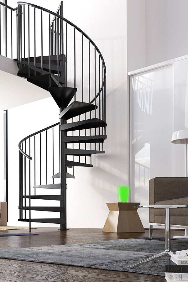 Aria Metal spiral staircase kit in black finish