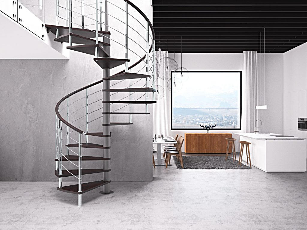 Top of the range designer spiral staircase with stainless steel railings