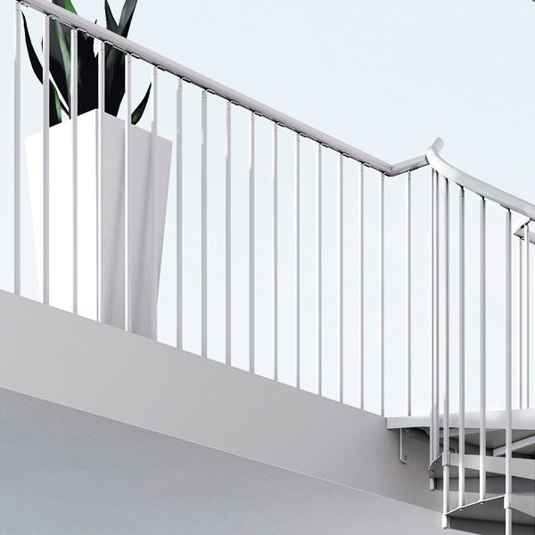 Aria Metal Balustrade kit shown in all white finish