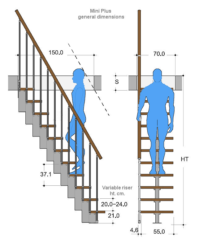 Drawing of a space saver staircase with dimensions