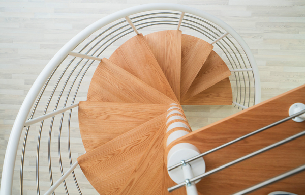 Real oak treads on a Montreal spiral staircase